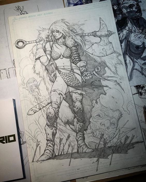 Red Sonja. 2H mechanical pencil. Almost finished.