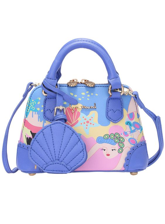 Blue Metal Embellished Sea Print Bag 29.00