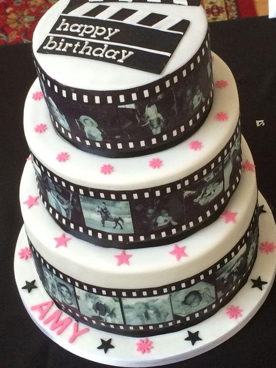 Film Reel Style Cake 3 Tiers Of Chocolate Mud Cake Covered In Edible Images Of The Birthday Girl Kuchen Ideen Motivtorte Geburtstagstorte
