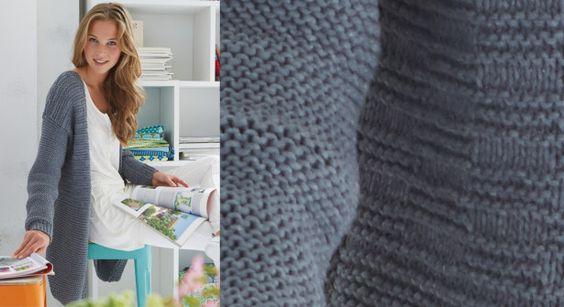 Gilet gris au point fantaisie à tricoter © Coats