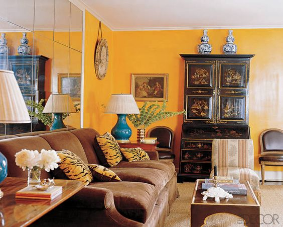 Outstanding Orange Living rooms, Sofa pillows and Secretary