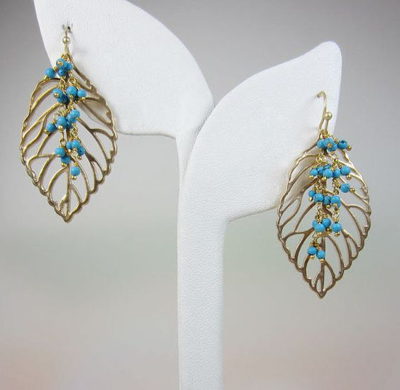 Modern unique earrings Matte Goldplated Filigree Leaves double twist Turquoise