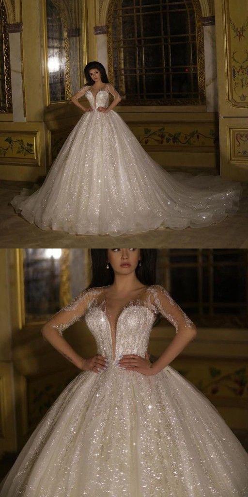 Luxus Brautkleid Mit Armel Prinzessin Hochzeitskleid Mit Glitzer Hochzeitstag Kleider Hochzeitskleid Kleid Hochzeit