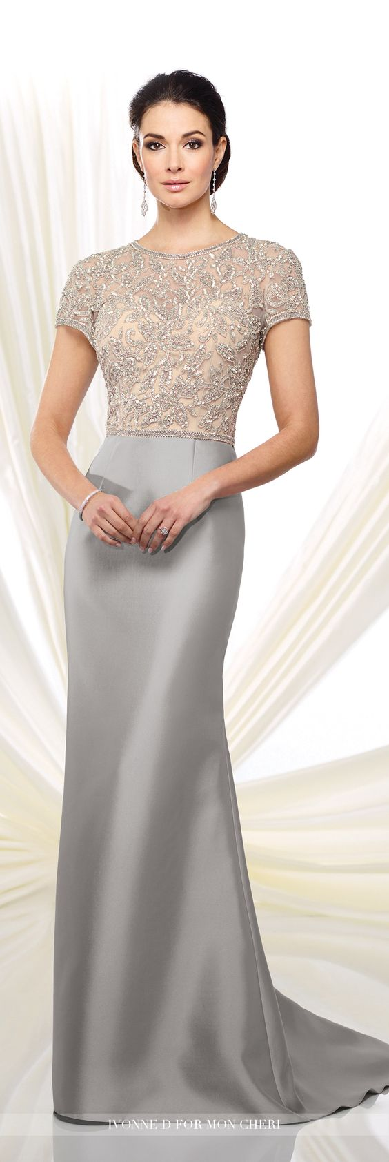 Formal Evening Gowns by Mon Cheri - Fall 2016 - Style No. 216D45 - short sleeved silver evening gown with hand-beaded illusion top and mikado skirt