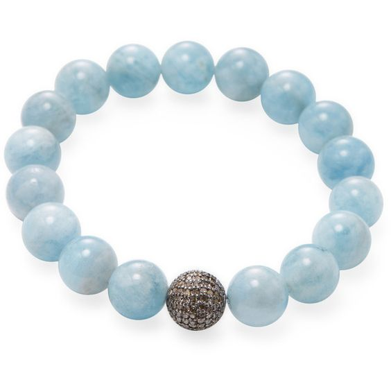 Bavna Women's Aquamarine Bead & 1.07 Total Ct. Champagne Diamond... ($635) ❤ liked on Polyvore featuring jewelry, bracelets, no color, bead jewellery, champagne jewelry, beaded bangles, aquamarine jewelry and aquamarine jewellery