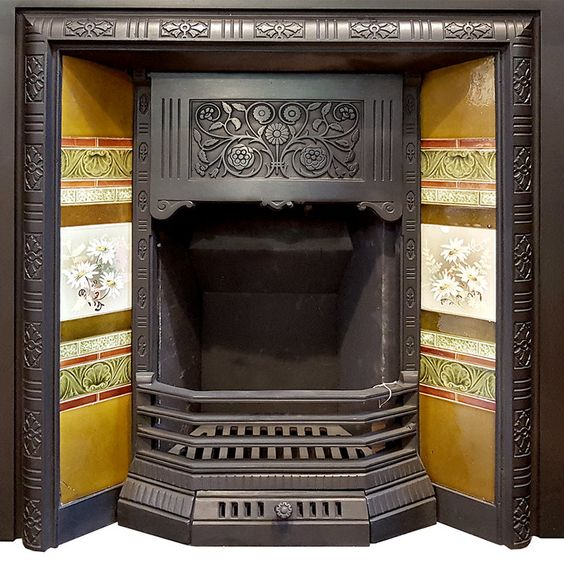 Antique Fireplace Insert With Original Tiles Complete With All Parts Ready To Install Fireplace Inserts Antique Fireplace Surround Antique Fireplace