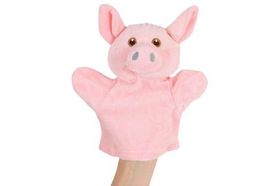 "ANIMAL HAND PUPPET: Pig - Plush, 8""."