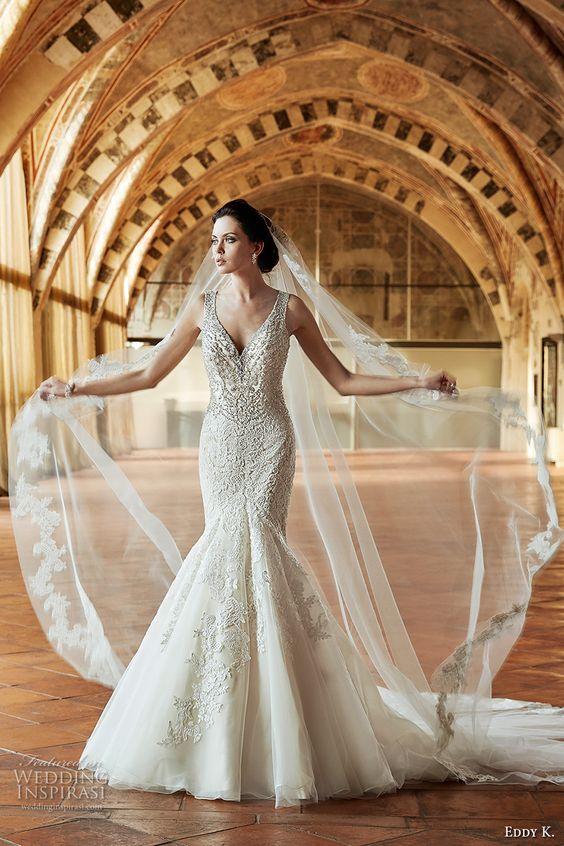 eddy k couture 2017 bridal sleeveless thick strap v neck crystal beaded heavily embellished bodice gorgeous elegant mermaid wedding dress illusion back chapel train (ct181) mv