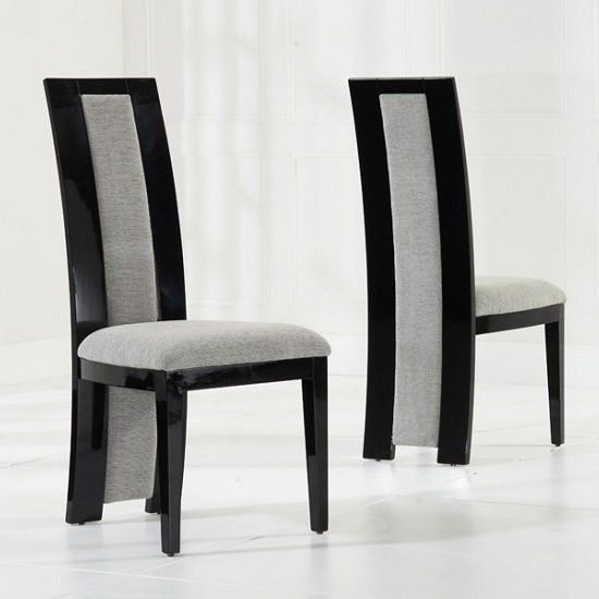Allie Dining Chair In Black High Gloss And Grey Fabric In A Pair