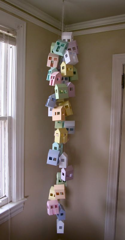 DIY Paper House Mobile | The Not-So-Desperate Housewife First thing that came into my mind...Paper Towns by John Green. ~~
