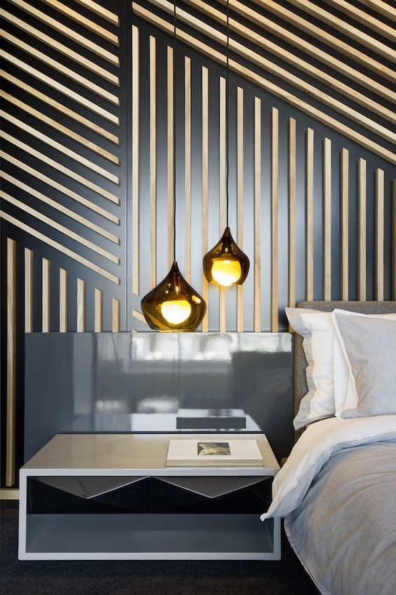 PATTERNS THAT POP: modern industrial wall treatment using thin pieces of wood