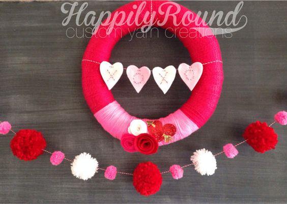 Valentine's Day Wreath and Pom Pom Garland