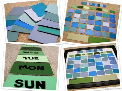 DIY - Paint chip Dry Erase Calendar