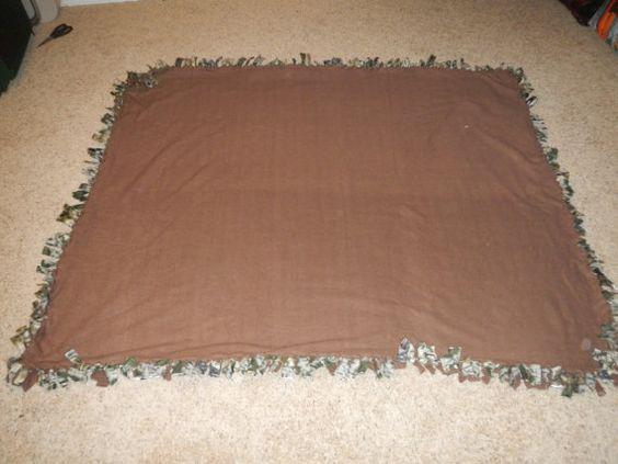 Handmade+Camo+and+Brown+Fleece+Tie+Blanket+by+Blazesetter+on+Etsy,+$35.00
