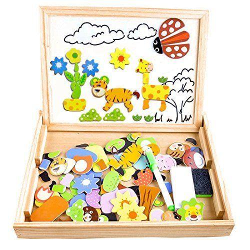 Fast 100 Stuck Farmmuster Holzpuzzle Tafel Magnetische Puzzle Doppelseitige Puzzle Tafe Geschenke Fur Kinder Spielzeug Fur Kleinkinder Spielzeug Fur 3 Jahrige