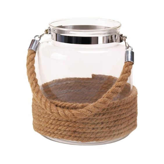 """Copy of 8.38"""" Brown Rope Clear Glass Jar Candle Holder Lantern Nautical Ocean Decor"""