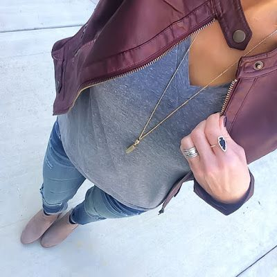 Burgundy Moto Jacket + Grey tee + Vigoss jeans + taupe booties [@ontheDailyX]: