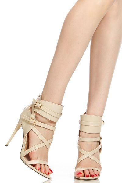 Nude Faux Leather Multi Strap Single Sole Heels