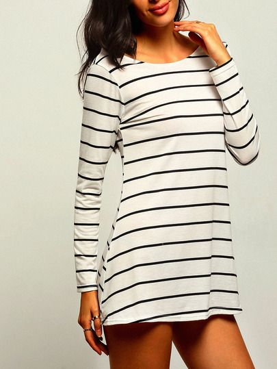 White Striped Open Back Shift Dress