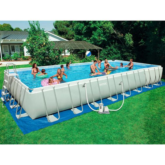 Intex ultra frame rectangle ag pool 16ft x 32ft x 52in 54987eg swimming pool supplies pools for Intex rectangular swimming pool