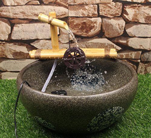 zen bambou fontaine a eau avec pompe