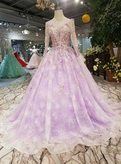 Light Purple Tulle Sequins Long Sleeve With Appliques Wedding