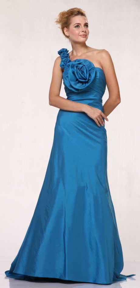 Long Indigo Blue Formal Evening Gown Taffeta Large Oversized Rose One Shoulder Small Train $177.99
