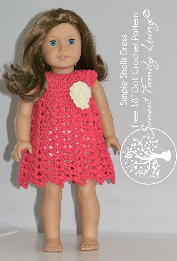 simple shells dress for american girl or other 18 dolls