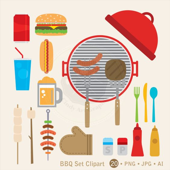 bbq Set Clipart,bbq clipart,food clipart,picnic clipart,bbq party,digital download-BUY 1 GET 1 FREE! Use Code: 1GET12016