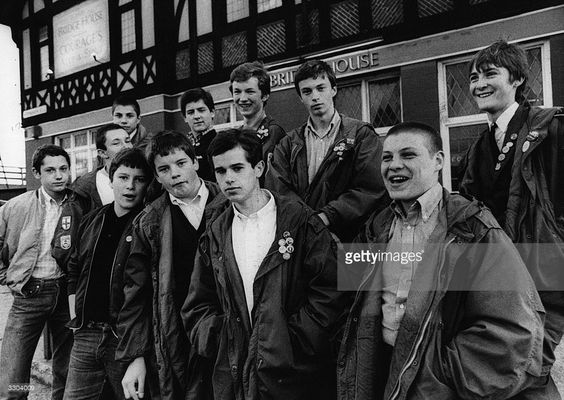 A gang of teenage mods, outside the 'Bridge House' pub, Canning Town.