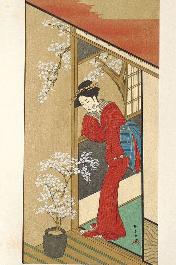 Japanese Ukiyoe Woodblock print antique Katsukawa by UkiyoeSalon