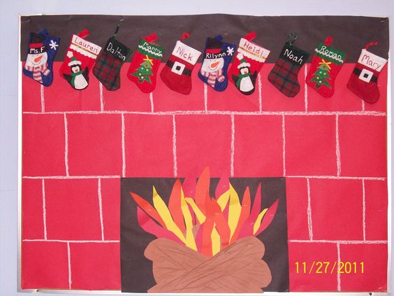 "My ""Stocking Were Hung By The Chimney With Care"" Christmas bulletin board!!"