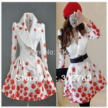Womens Double-Breasted Red Cherry Printed Windbreaker Trench Coat(China (Mainland))