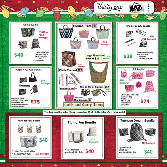 My Thirty-One Black Friday Ad! Items will be in before Christmas!