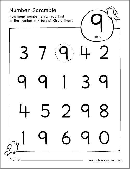 36++ Number 9 worksheets kindergarten Popular
