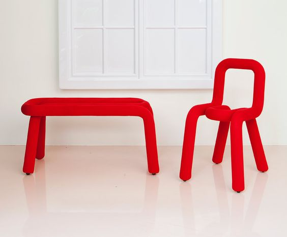 bold chair + bench by big game - moustache collection at maison et objet 2013 - designboom | architecture & design magazine