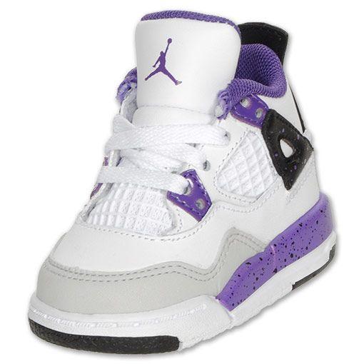 Jordan Toddler Retro 4 Basketball Shoes| FinishLine.com | White/Ultra Violet/Black/Grey