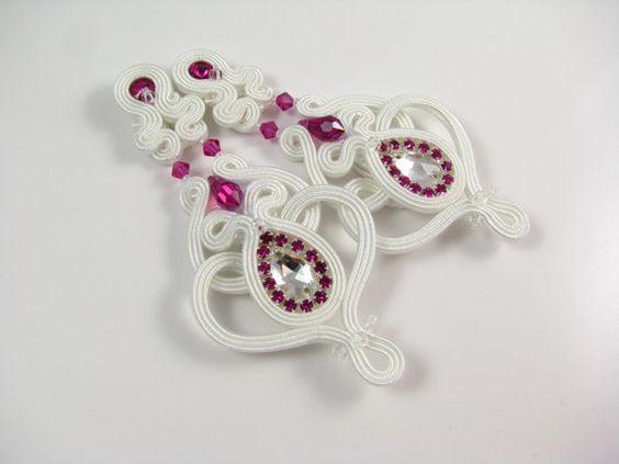 Chandelier white soutache bridal earrings by byPiLLowDesign