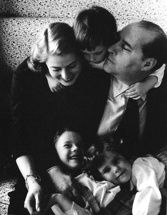 Ingrid Bergman and Roberto Rossellini with twin daughters Isabella and Isotta Ingrid, and son Robertino