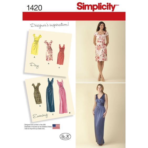 Misses' day or evening dress can be made with two figure flattering bodices. Dresses can be made long or short with princess seam bodice and square neck or faux wrap V-neck bodice. Both have asymmetric cinch at waist. Simplicity sewing pattern.
