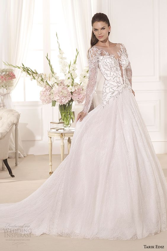 tarik ediz 2014 bridal collection illusion neckline long sleeves a line wedding dress 1 hazan