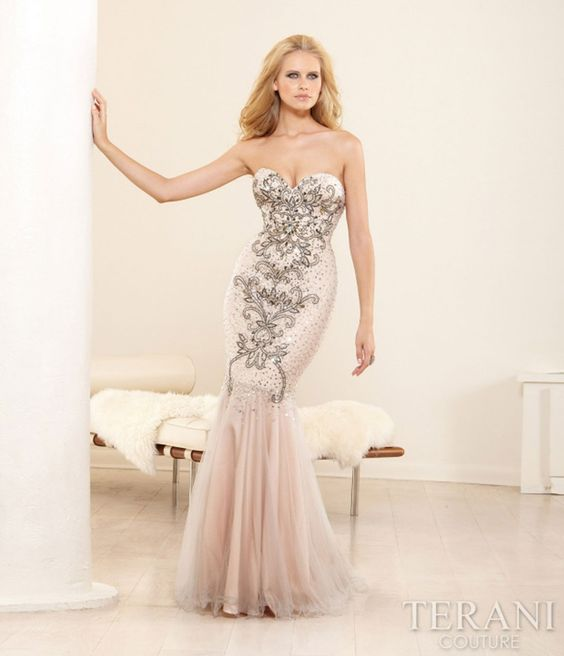 Nude Mesh & Baroque Embellished Mermaid Silhouette #uniquevintage #prom  gorgeous!!