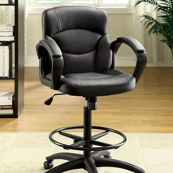 cm-fc610 contemporary, desk chair, low back, leatherette padded cushions, comfortable padded arm rests, smooth gliding mobile wheels. leg rest, black & steel, 5 sturdy chrome legs,  Pneumatic Ht adjustable seat. Available: black