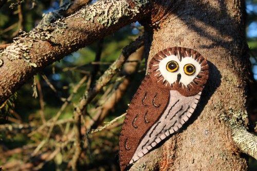 Northern Saw-whet Owl Felt Ornament Pattern