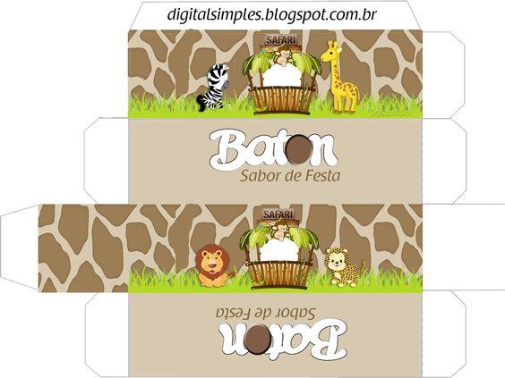Convites Digitais Simples: Kit Digital de Aniversário Tema Safári Menino para Imprimir