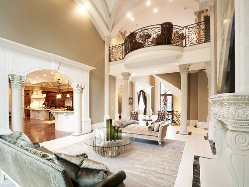 Luxury interior living room pinterest high ceilings for Living room with balcony interior
