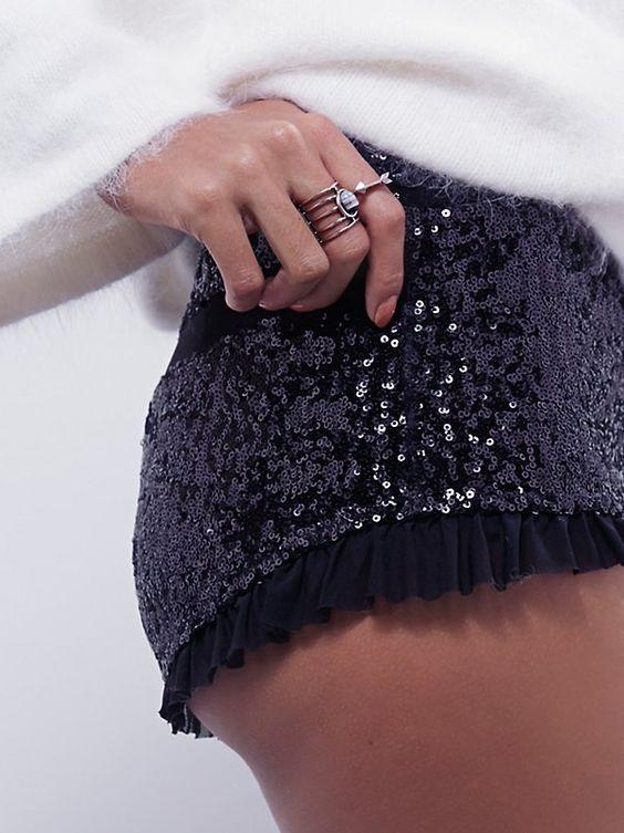 Sequin Ballet Brief | Allover sequin brief with a sheer mesh ruffle trim. Elastic waistband.