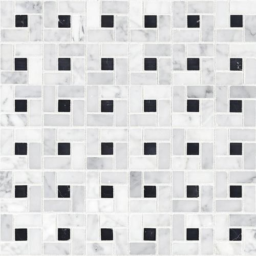 Bianco Carrara Polished Pinwheel Marble Mosaic Floor Decor Marble Mosaic Bianco Carrara Marble Mosaic Floor
