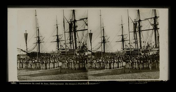 Ferrier Père-Fils et Soulier   Inauguration du canal de Suez. Embarquement des troupes a Port-Said (instantanee), Ferrier Père-Fils et Soulier, Léon & Lévy, M. Léon, 1860 - 1880  