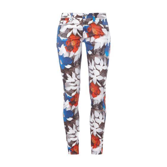 #7 for #all #mankind #Skinny #Fit #Jeans mit #abstraktem #All-Over-Muster für #Damen - Damen 5-Pocket-Jeans von 7 for all mankind, Baumwolle mit Stretch-Anteil, Skinny Fit, Bund mit Gürtelschlaufen, Knopf- und Reißverschluss, Abstraktes All-Over-Muster, Innenbeinlänge bei Größe 27: 76 cm, Bundweite bei Größe 27: 84 cm